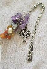 Silver Metal Bookmark 7 Natural Healing Crystal Cluster Silver Tree