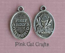 5 x FIRST HOLY COMMUNION Oval Tibetan Silver Charms Pendants Beads