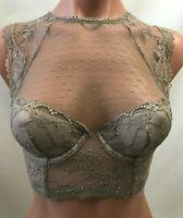 Victoria's Secret Dream Angels Lace Lined Demi High Neck Bra - Gray - 32DD - NWT