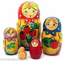 Traditional Russian Matryoshka Hand Painted Nesting Babushka set of 5 Dolls new