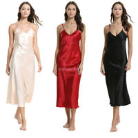 Womens Satin Nightdress Nightgowns Sleepshirt Summer Sleepwear Homewear New