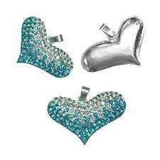 925 Silber 3D Herz Anhänger Zirkonia Weiss Türkis Strass Kette Kristalle
