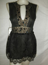 NWT $350 NANETTE LEPORE BLACK SEQUIN BEADED LACE SPECIAL OCCASION TOP SHIRT 4