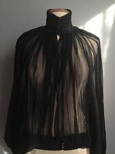 NWT $2195 JEAN PAUL GAULTIER FEMME Chiffon Silk Mock Neck Blouse size US 6
