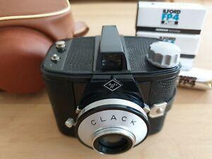 Agfa CLACK 6x9 120er Mittelformatkamera mit Tasche und Ilford FP4 Plus Rollfilme