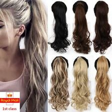 Long Curly Wrap Around Clip In Ponytail Hair Extension Fake Hair