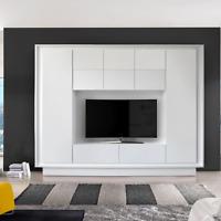 Mobile parete soggiorno Sky porta TV moderno salotto cucina colore bianco opaco