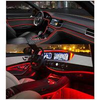 4M LED Fiber Optic Interior Ambient Lamp Car Door Center Console Decor Light Red