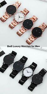 Luxury watches men's leather & Stainless Steel Mesh Belt Quartz  Gift