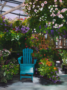 Virgia West The Blue Chair Flowers in Greenhouse Nursery Original Painting 24x18