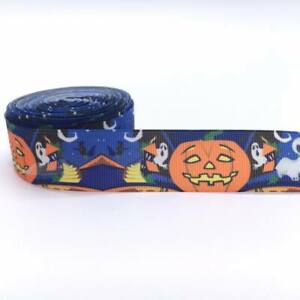 "Halloween Pumpkin Ghosts 1"" 25mm Grosgrain Ribbon"