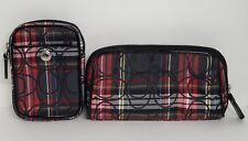 Coach Tartan Black Red Multi Makeup & Camera Multi Function Cases EUC Pre-Owned