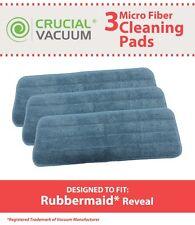 3 Rubbermaid 1M19 Reveal Wet Mop Microfiber Washable & Reusable Mop Pads NEW
