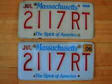 "Set Massachusetts ""Spirit of America"" License Plates Red, White, Blue ""RoadTrip"""