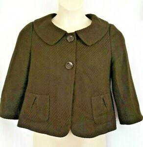 NEW Ann Taylor Womens Swing Jacket Blazer Size 6 Brown Tweed 3/4 Sleeve $168