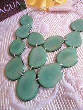 TAGUA 100% organic natural IVORY SEA GREEN  WATERFALL NECKLACE