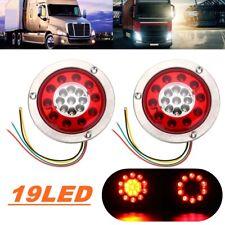 Pair 4.3'' Round 19 LED Car Trailer Lorry Brake Stop Turn Tail Light Steel Ring