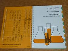 MERCK réactifs MEMENTO formule de CHIMIE polarographie PHOTOMETRIE granulations
