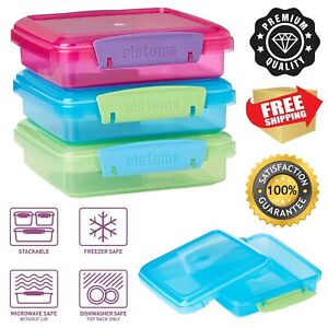 Sistema Lunch Sandwich Box, 450 ml Contrasting Clips, Pack of 3,