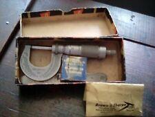 Brown Amp Sharpe Machinist Micrometer 0 1 Model 13 0001 Reading