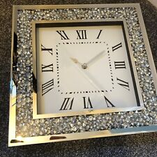 GLAMOROUS  LARGE  DIAMANTE MIRRORED WALL CLOCK CRUSHED JEWEL  GLASS CLOCK 35CM.