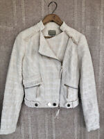NWT GUESS BY MARCIANO S Woven Knit Cream Ivory Moto Jacket Tweed Fringe Boucle