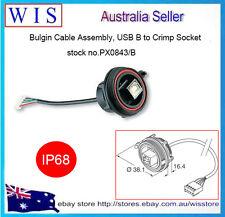 Bulgin Cable Assembly, USB B to Crimp Socket, IP68-PX0843/B