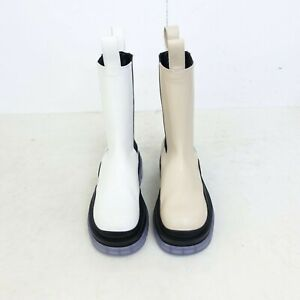 Handmade] Women Leather Tire Boots Mid Ankle Bold Lug Sole Bv Opaque Veneta