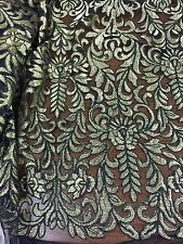 """BLACK/GOLD MESH CORDED EMBROIDERY BEIDAL LACE FABRIC 48"""" WiIDE 1 YARD"""