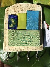 Handmade Ceramic Mosaic Keychain Holder, Green-Blue-Beige, Wall Art, New