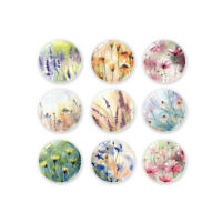 4Pcs/Set Flower Plants Fridge Magnets 30mm Round Glass For School Office Home