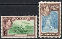 Jamaica 1938 green/purple 1/- blue/chocolate 2/- multi-script p14 mint SG130/131