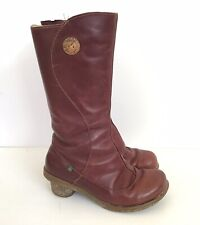 EL NATURALISTA Red Womens Leather Mid High Boots - Size 5 UK 38 EU