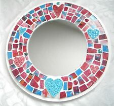 Round Mosaic Accent Mirror - Abstract China Tiles and Ceramic Hearts