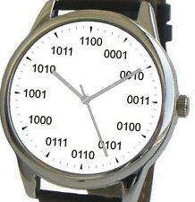 Large Geek Dial Watch Has Binary Numbers At Each Hour - Black Leather Strap