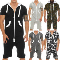 Men's Summer Camouflage Solid Color Romper Short Sleeve Hooded Jumpsuit Newly