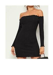 MISSGUIDED Frill Bardot Long Sleeve Ribbed Mini Dress in Black size 6