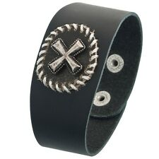 Cross Circle Badge Leather Wristband