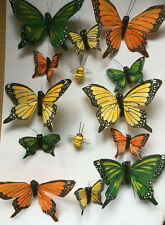 Feather Butterflies - Natural Authentic Fantail Butterflies on Wire & Bees