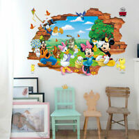 3D Broken Wall Mickey Minnie Mouse Stickers Nursery Decor Decal Art Mural Gift