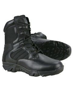BRITISH ARMY STYLE PATROL BOOTS TACTICAL BLACK COMBAT LEATHER CADET SECURITY