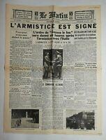 N762 La Une Du Journal Le Matin  23 juin 1940 l'armistice est signé