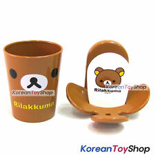 Rilakkuma Toothbrush Holder & Cup Set Wall Mount w/ Double Side Tape