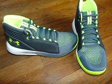 new boys under armour bgs torch mid size 4 youth gray/lime/white msrp $75