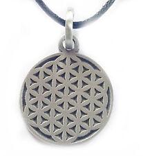 Blume des Lebens Anhänger Zinn, Lebensblume Amulett + Band, D25 mm, Harmonie