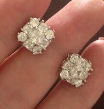 18K Oro Blanco Diamante Cluster pendientes con Pasador 288
