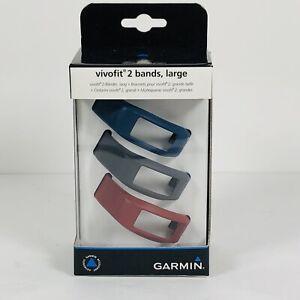 Garmin vivofit 2 Bands, Large Wrist Bands - 3pk Burgundy/Slate/Navy - New In Box