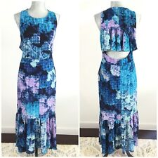 $138 MAGGY LONDON Size 6 Pixel Print Blue Purple Ruffle Backless Maxi Dress NEW