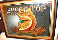 Shock Top Belgian White Man Cave Bar Mirror Beer Sign In Mint Condition