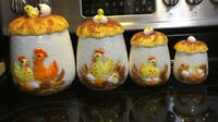 Set Of 4 Vintage Sears Roebuck Chicken & Egg Canister Set